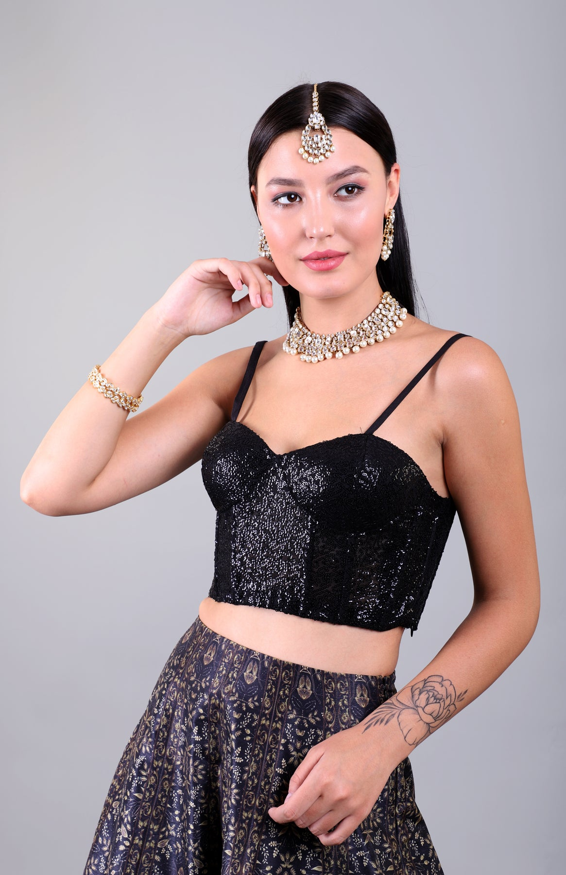 Black sequins lehenga set