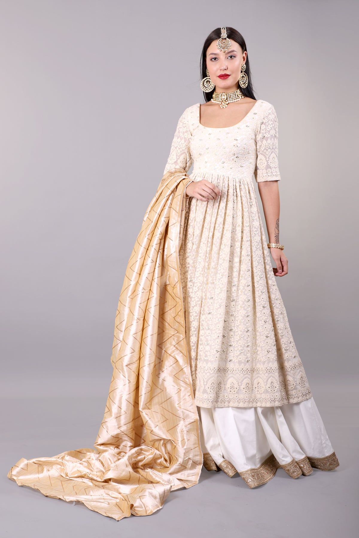 Off-White Chickankari Kurta with Lehenga set