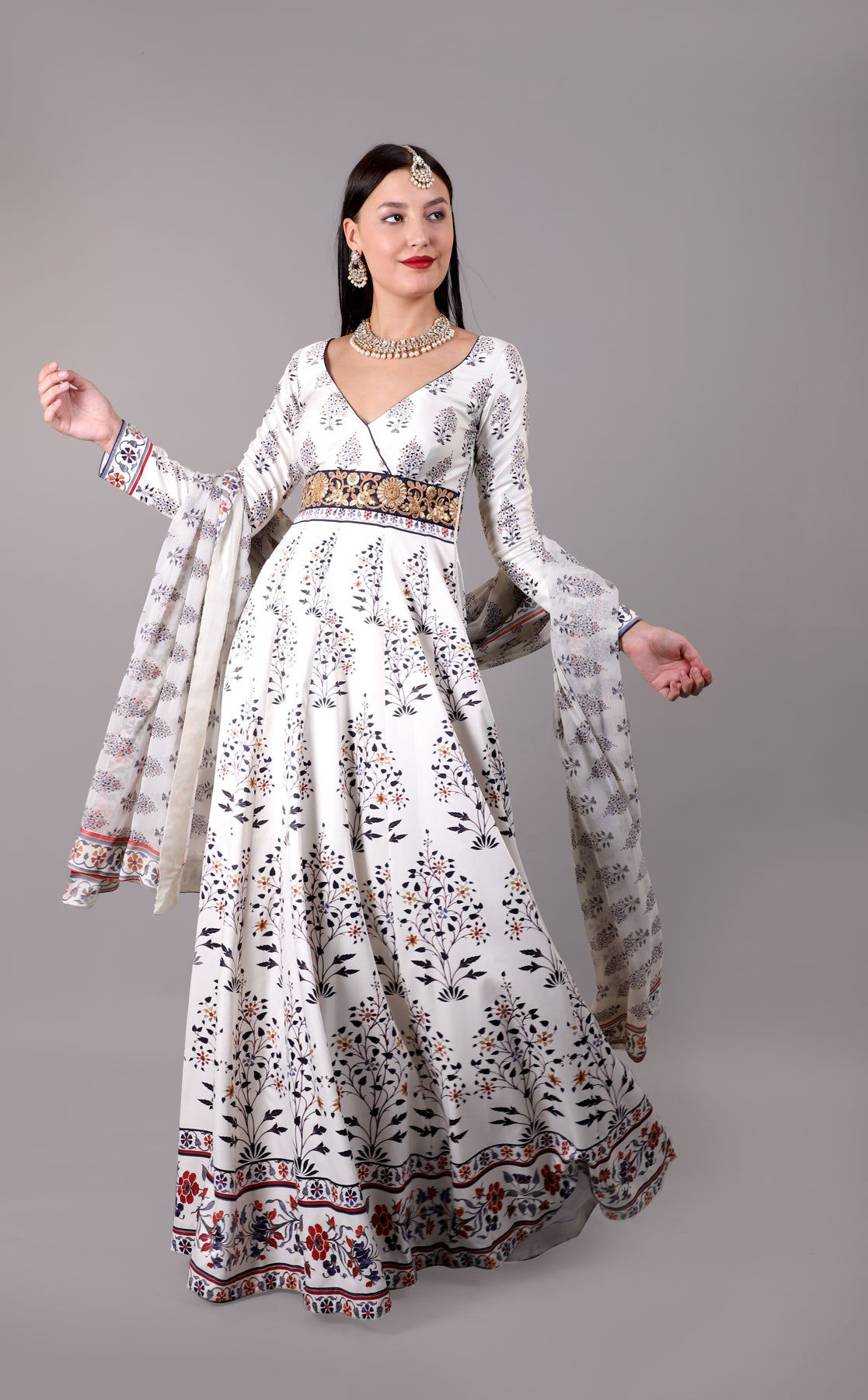 White Printed Anarkali Set