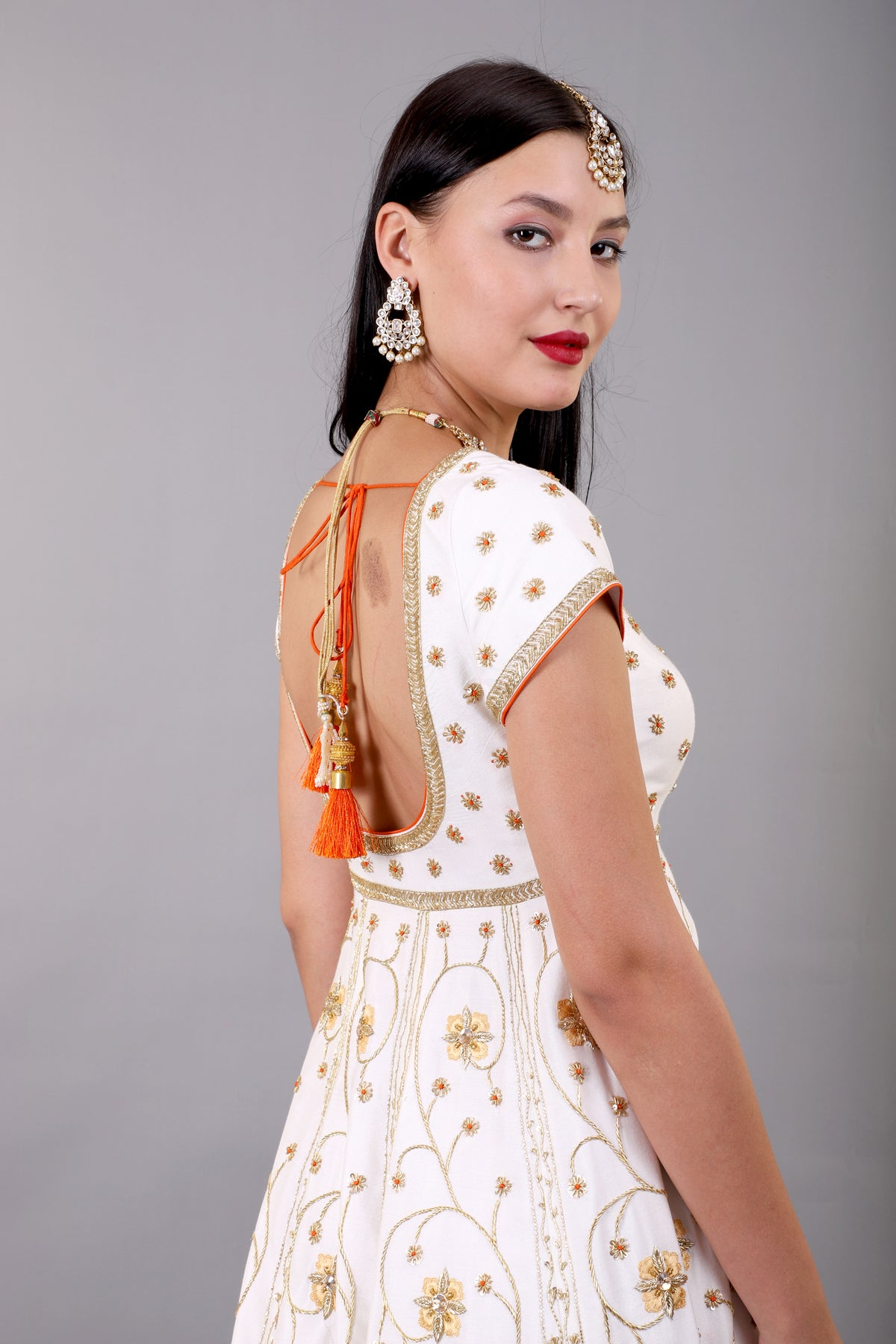 Off-White Embroidered Anarkali Set