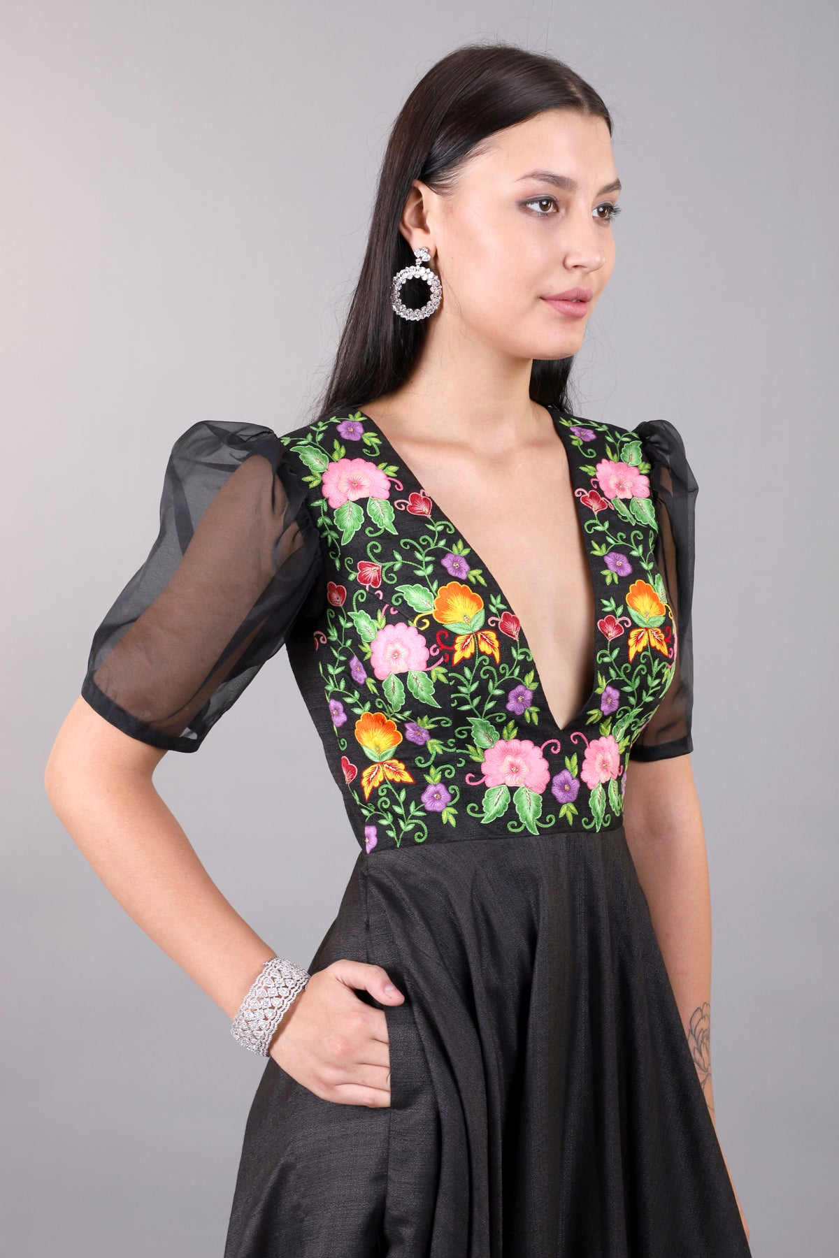 Black Embroidered gown