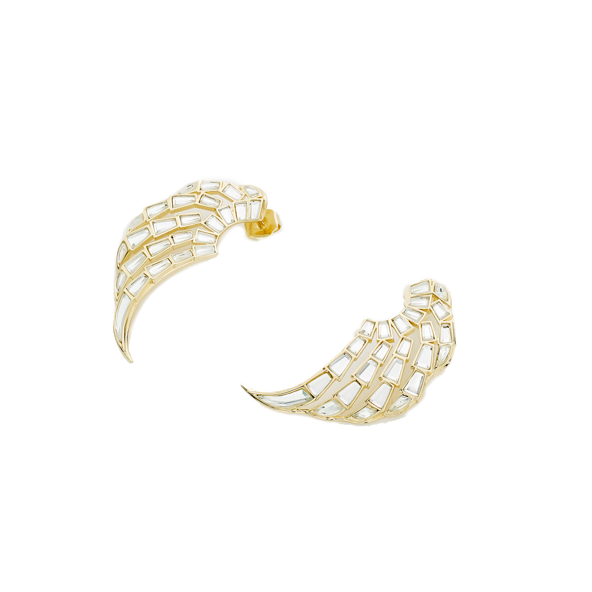 Angel Dust Baguette Mirror Statement Earrings