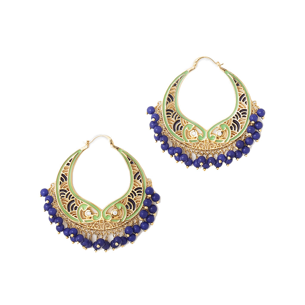 Like the intricate wall murals of a historic monument of love, these blue-green hoop earrings with gold-plated lapis drops are your every dream come true.