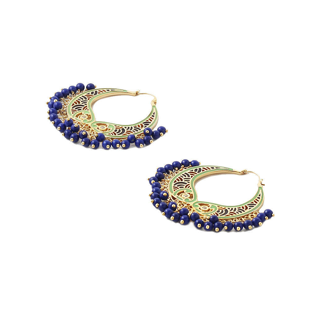 Blue and Green Hoop Earrings
