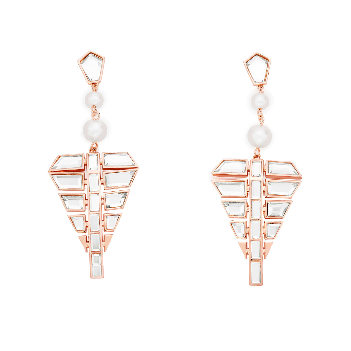 These earrings are handcrafted with mirror, pearl and rose gold plated brass.These come with a whole lot of edge but they need a sprinkling of attitude from you to match.