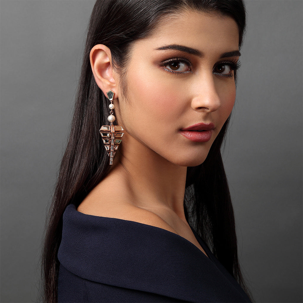 Bombay Deco Long Statment Mirror Earrings