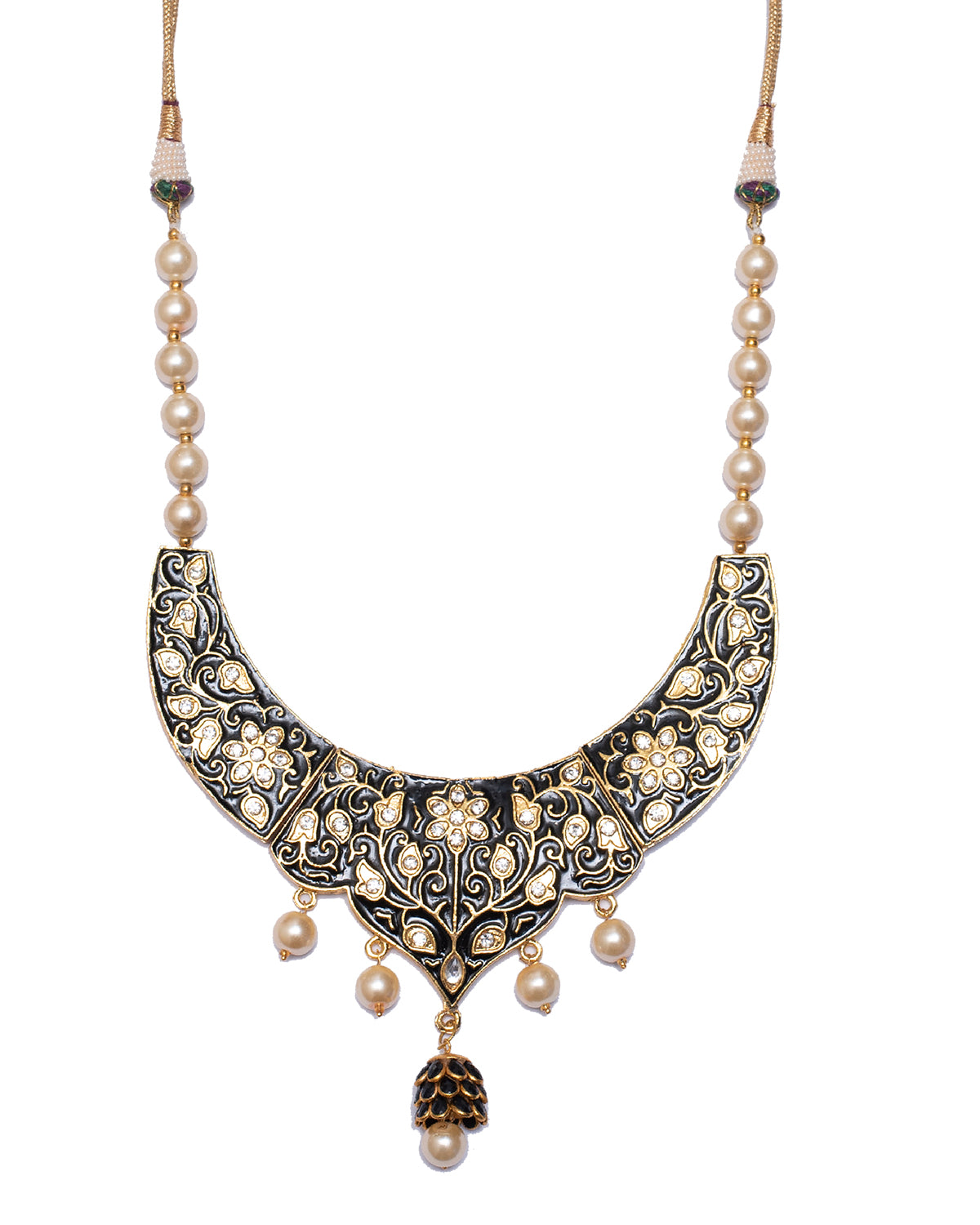 Black And Gold Enamelled Necklace Set