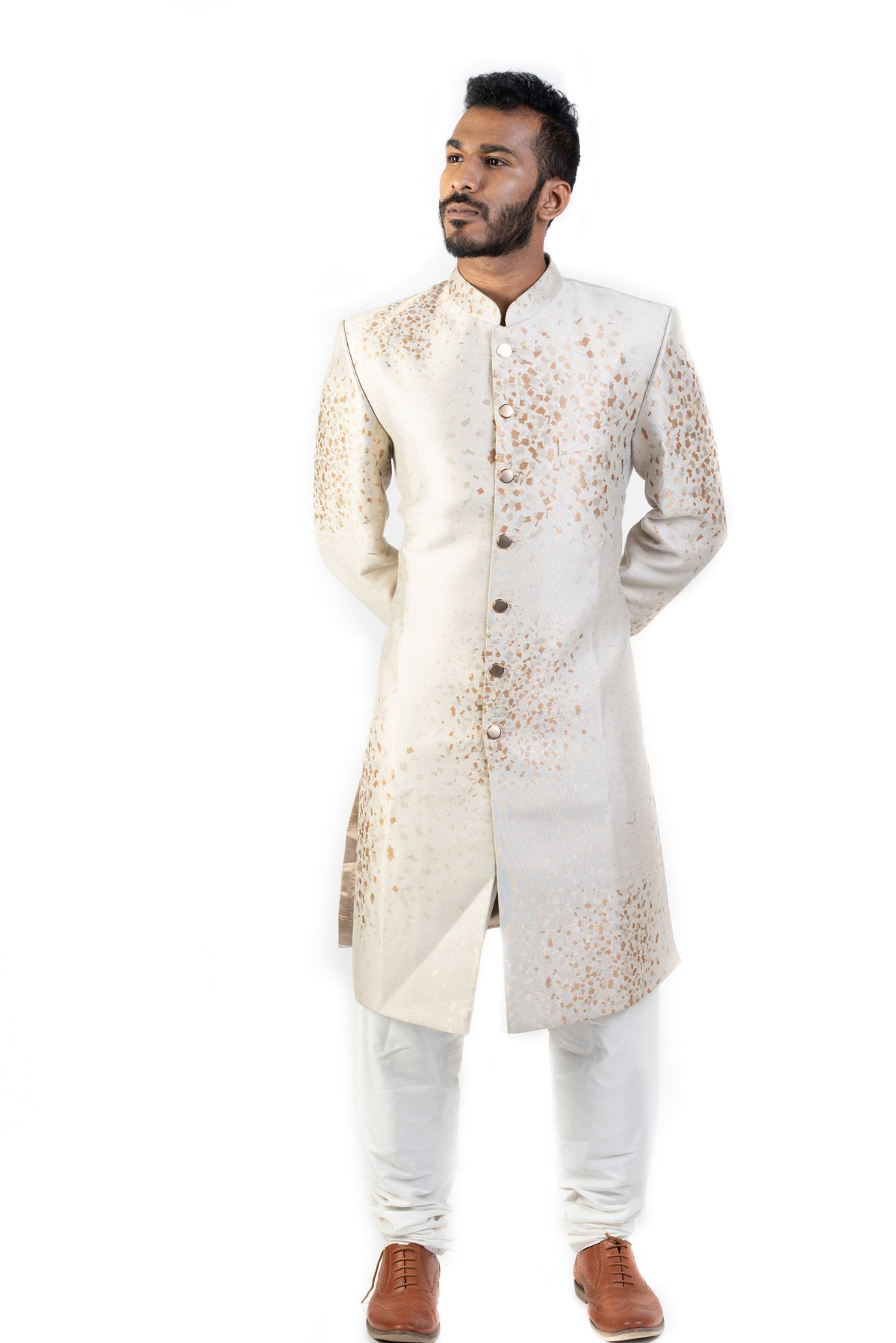 Offwhite Sherwani With Golden Squares
