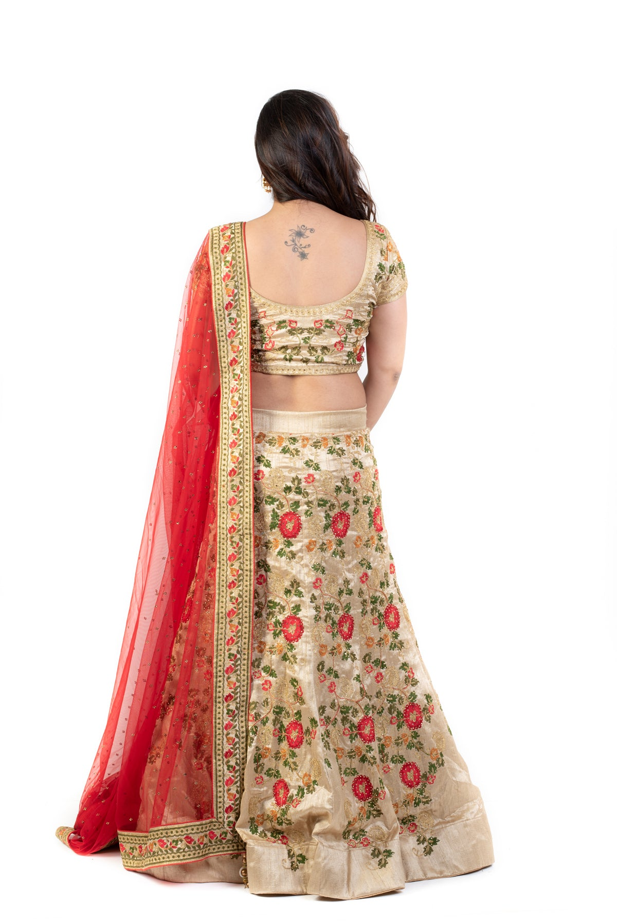 Beige Lehenga Set With Tread Embroidery
