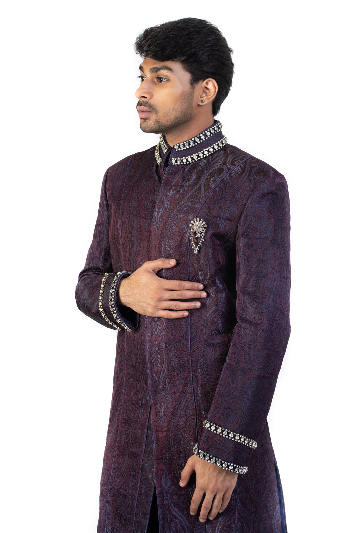 Purple Sherwani With Stonework