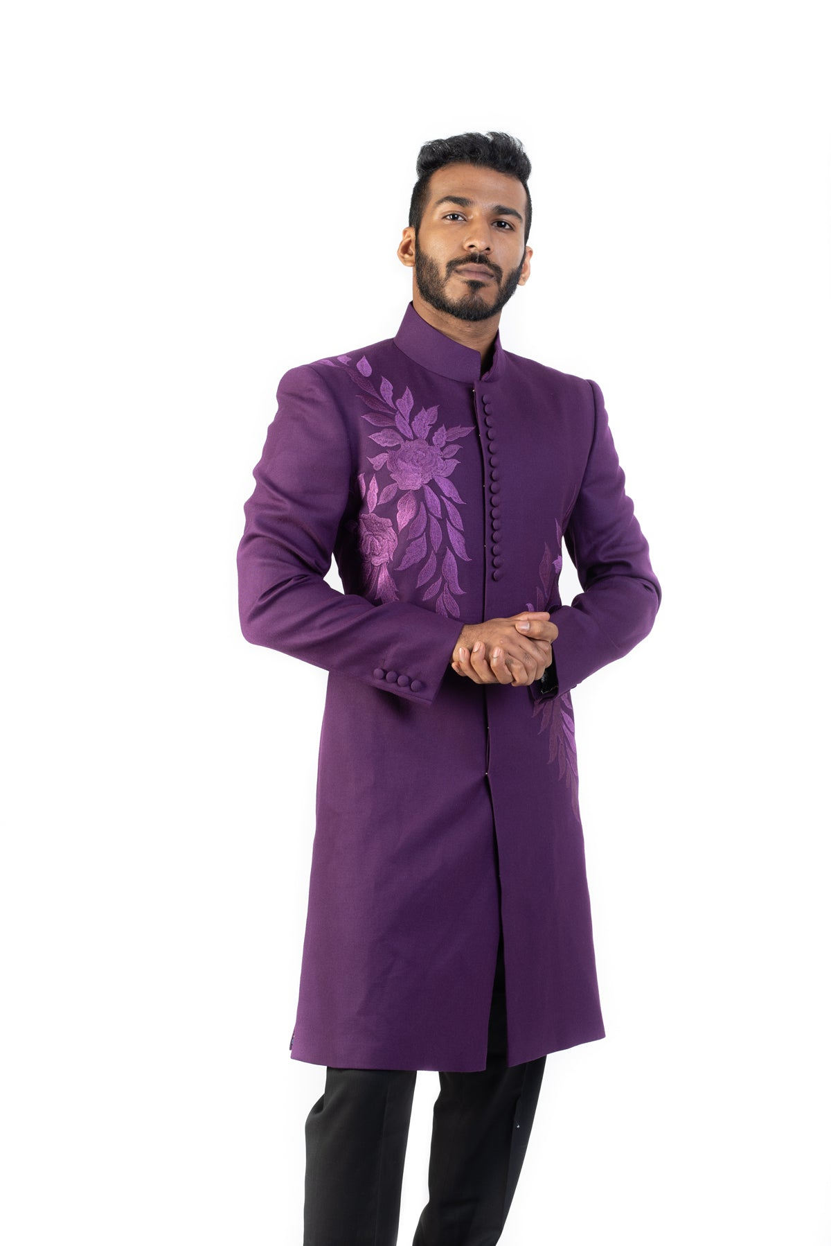 Purple Sherwani With Self Embroidery