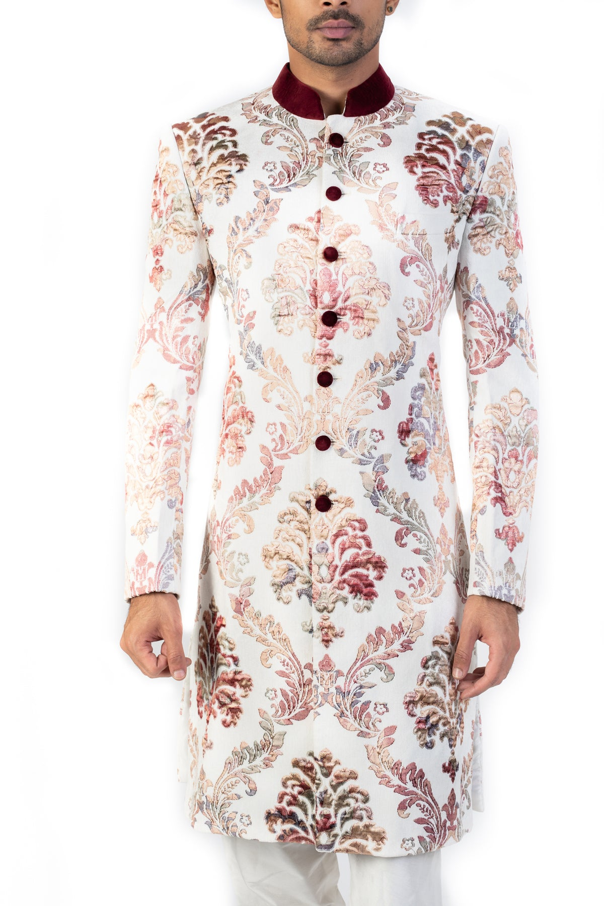 White Sherwani With Floral Patchwork
