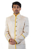 Cream Sherwani With Yellow Border
