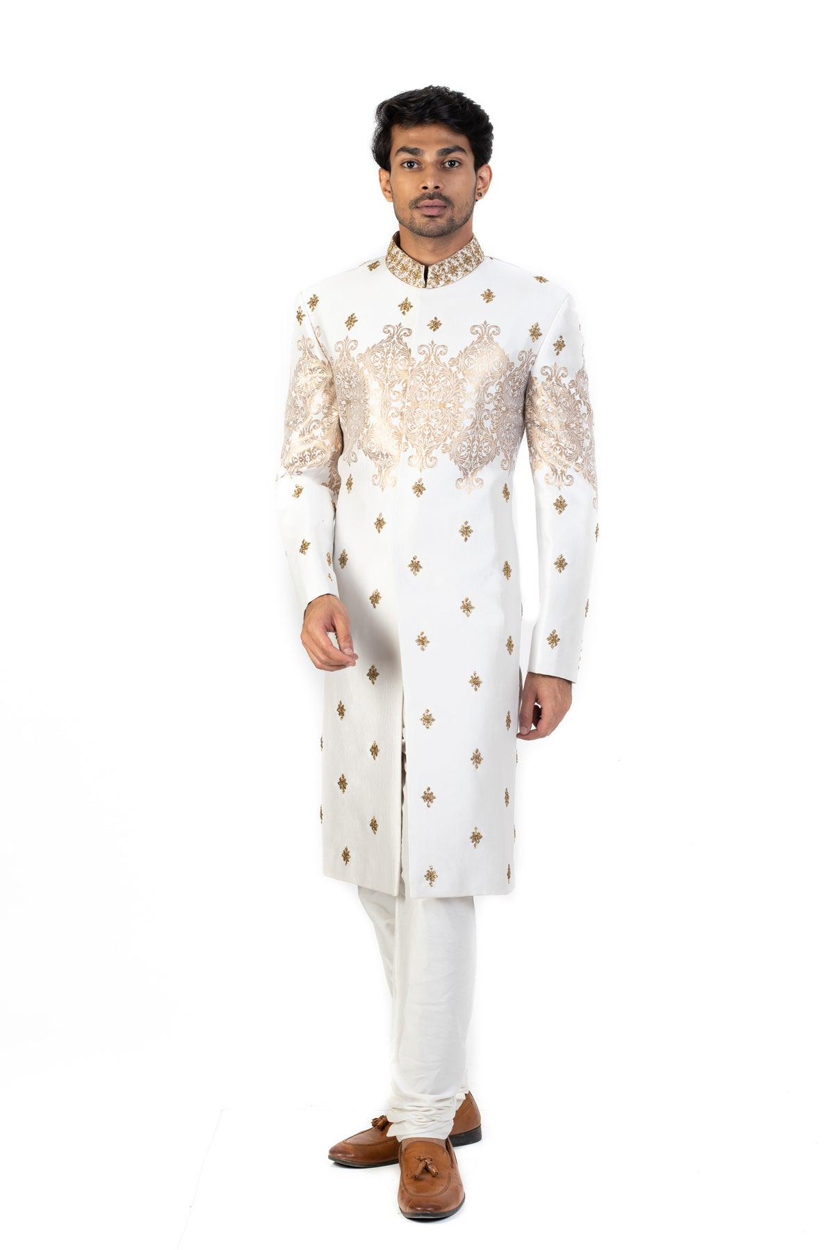 White and Gold Sherwani With Embroidered Motifs
