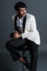 White Blazer With Hexagonal Texture