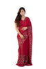Red Saree With Embroidered Roses