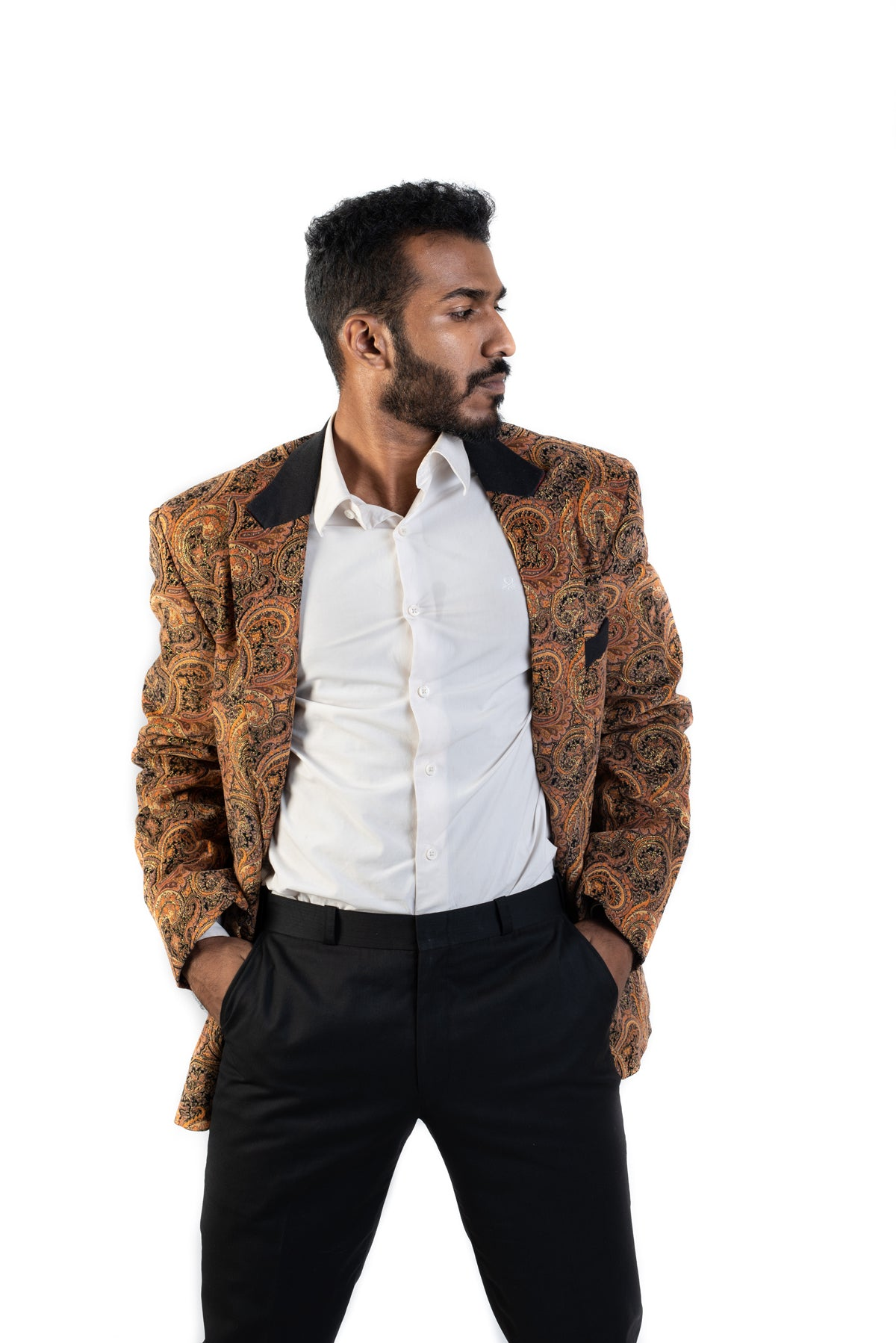 Tan Blazer with Paisley Embroidery