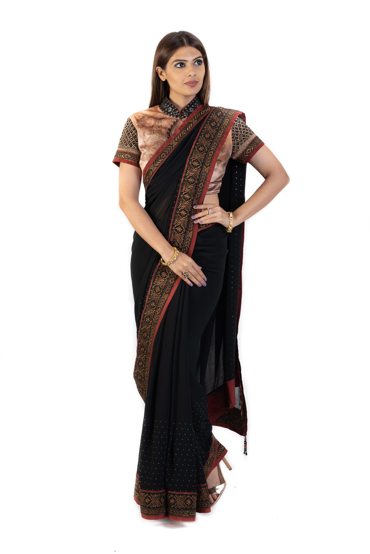 Black Sari With Beige Velvet Blouse