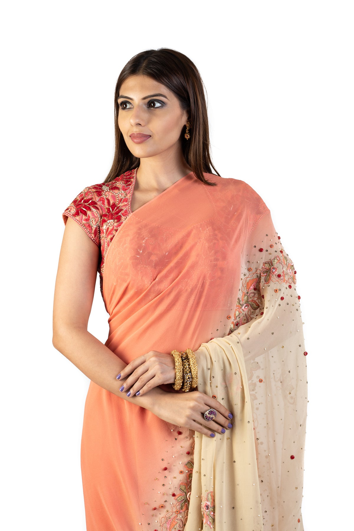 Ombre Orange Saree With Peach Blouse