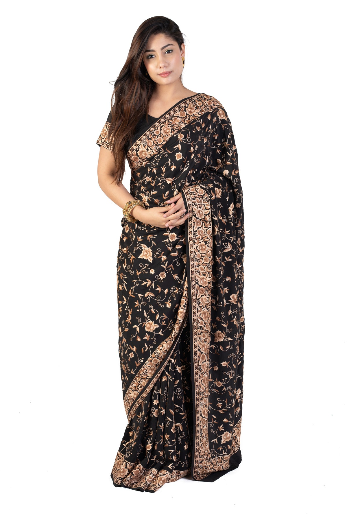 Black Parsi Saree With Gara Embroidery