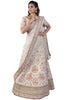 White Lehenga Set With Floral Embroidery