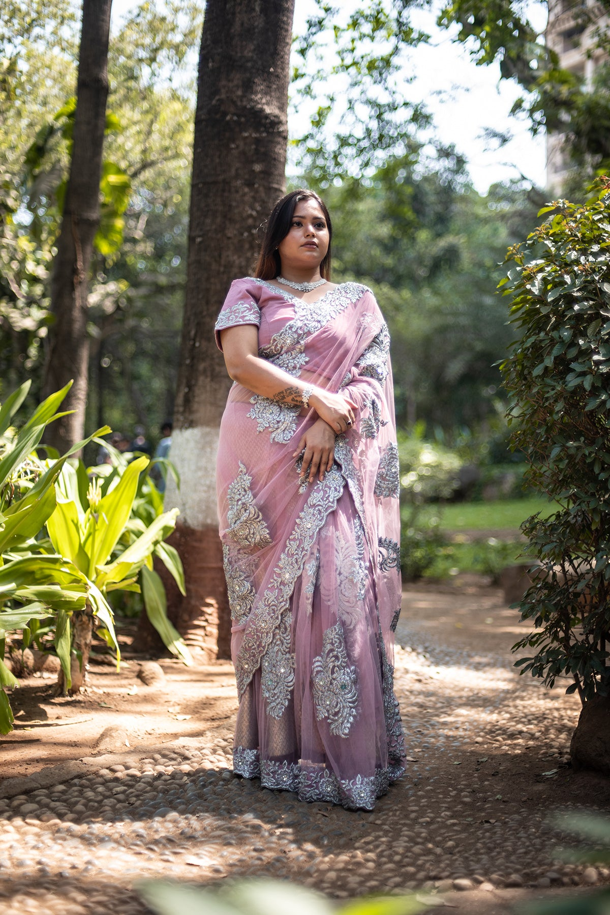 Pink Saree With Silver Embroidery