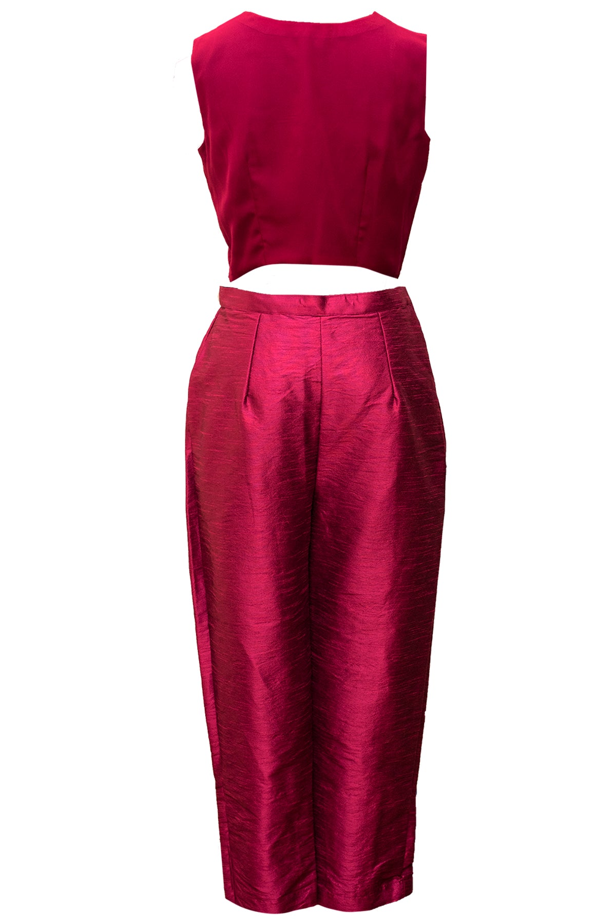 Maroon Crop Top And Pant Set