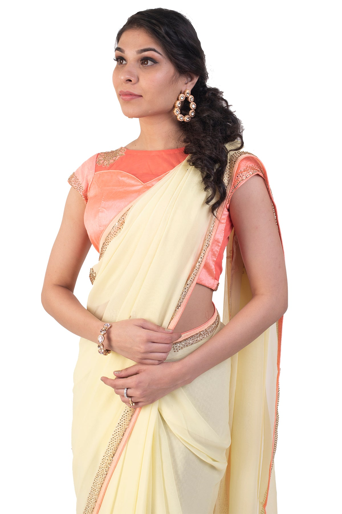 Light Yellow Saree With Peach Blouse