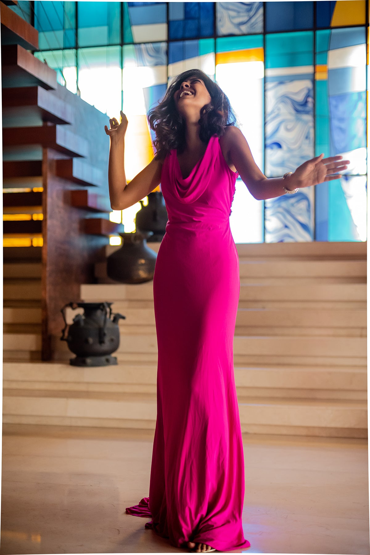 Hot Pink Gown With Crisscross Back