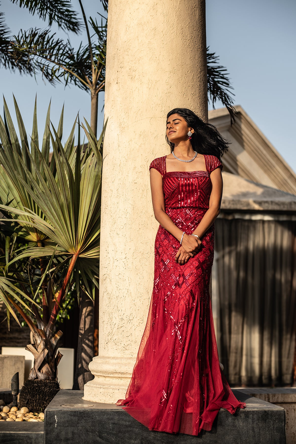 Red Gown With Sequin Embroidery