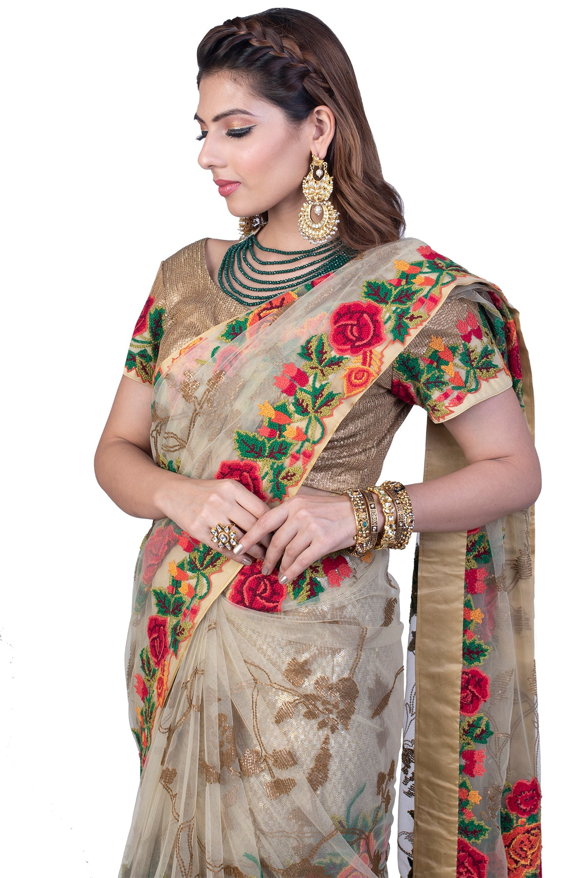 Beige Net Saree With Floral Thread Embroidery