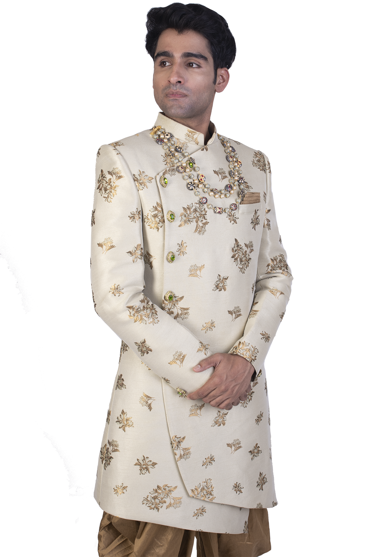 Asymmetric Sherwani With Golden Dhoti Pants