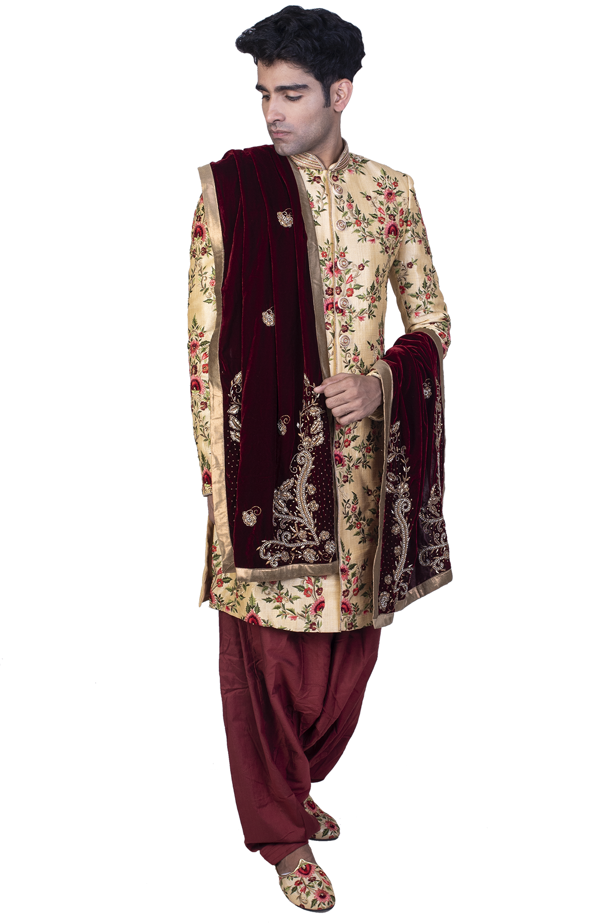 Cream Fully Embroidered Sherwani With Dupatta