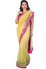 Yellow Saree With Pink Mirrorwork Border