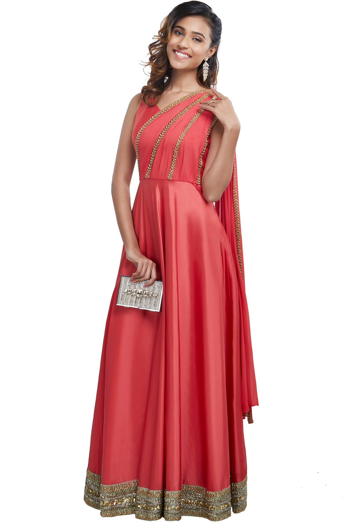 2f45c10aa30a94 Our strawberry pink anarkali gown is made of an imported. Sleeveless ...