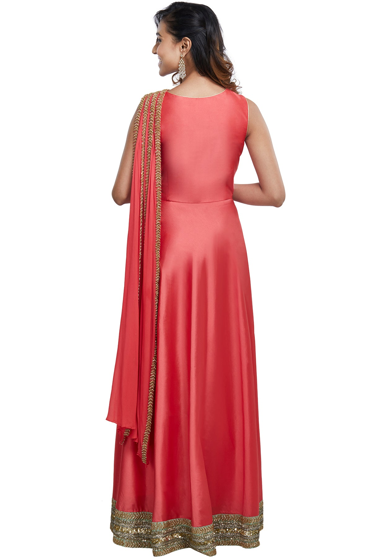 Sleeveless Strawberry Pink Anarkali Gown
