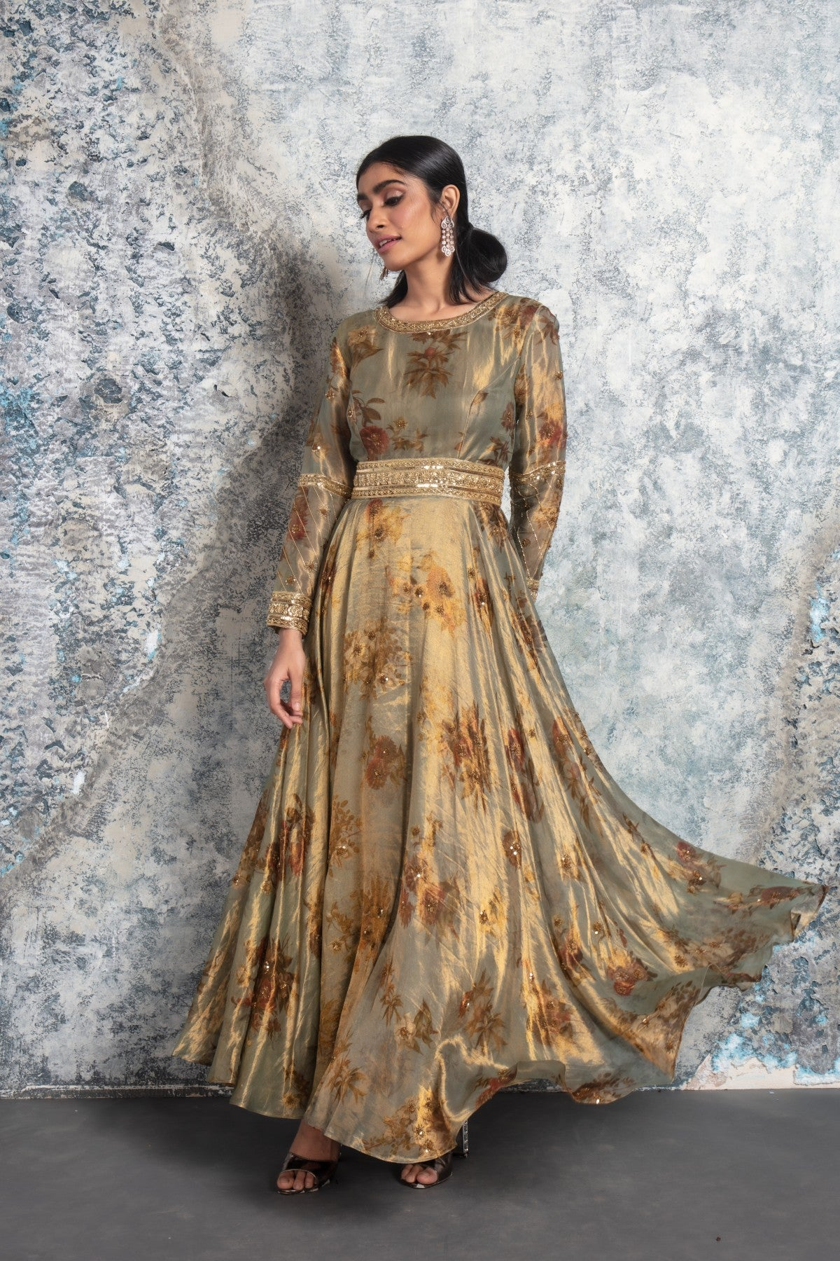 Rustic Gold Embroidered Flowy Gown