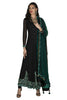 Black Anarkali with green dupatta which is a pleasure to watch, the shine just doesn't allow us to take our eyes off.