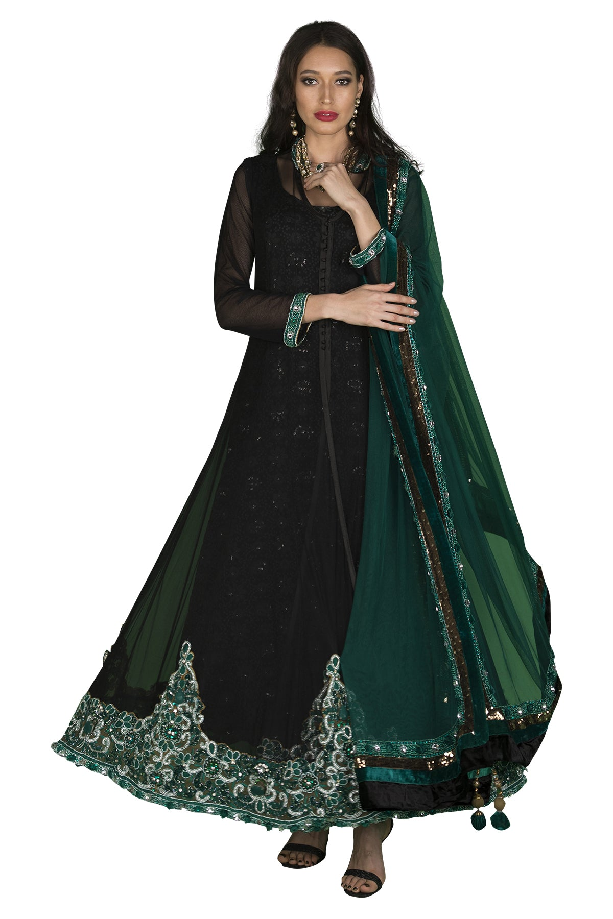 Black and emerald green anarkali set