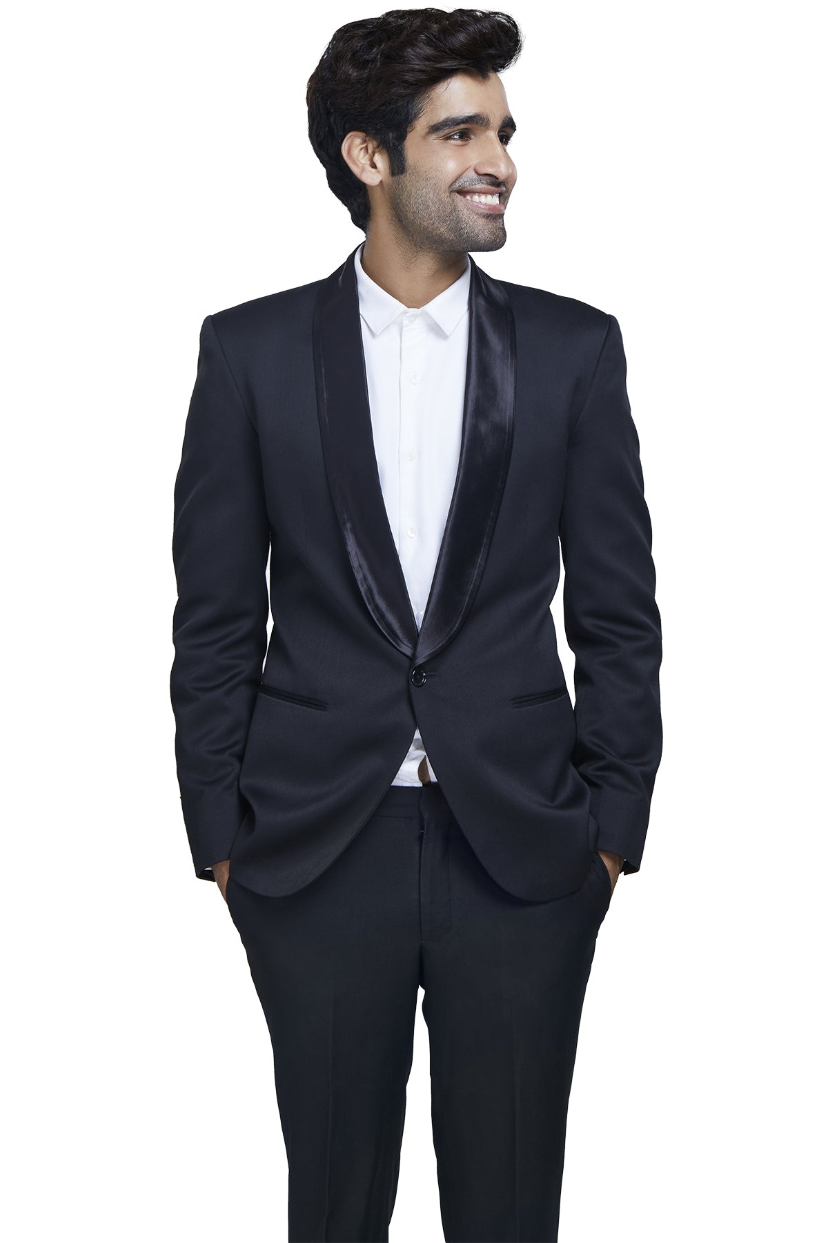 Blaze a statement trail in black! Rent out this dinner jacket with formal black trousers in a woolen polyester blend with satin round lapels for an added finesse.
