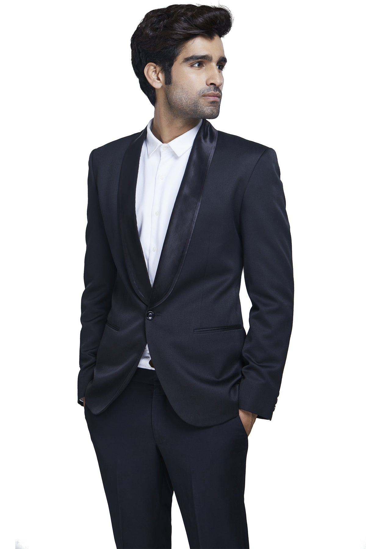 Black dinner suit with satin rounded lapels