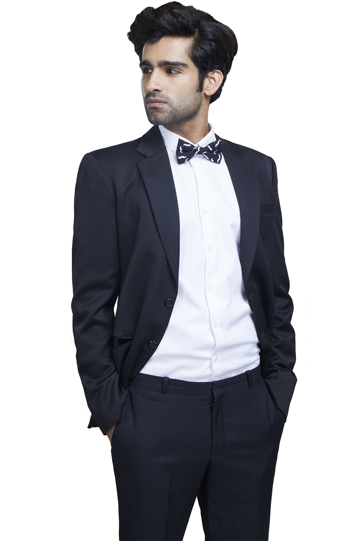 Quintessential plain black formal suit jacket in imported polyester blend