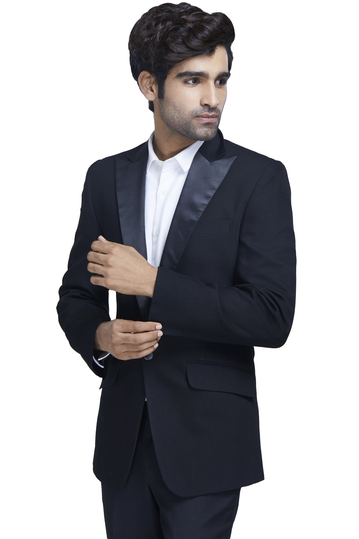 Suave as ever at the collar and smooth all across - this classic black dinner jacket has you covered for any special occasion in all it's dapper glory.