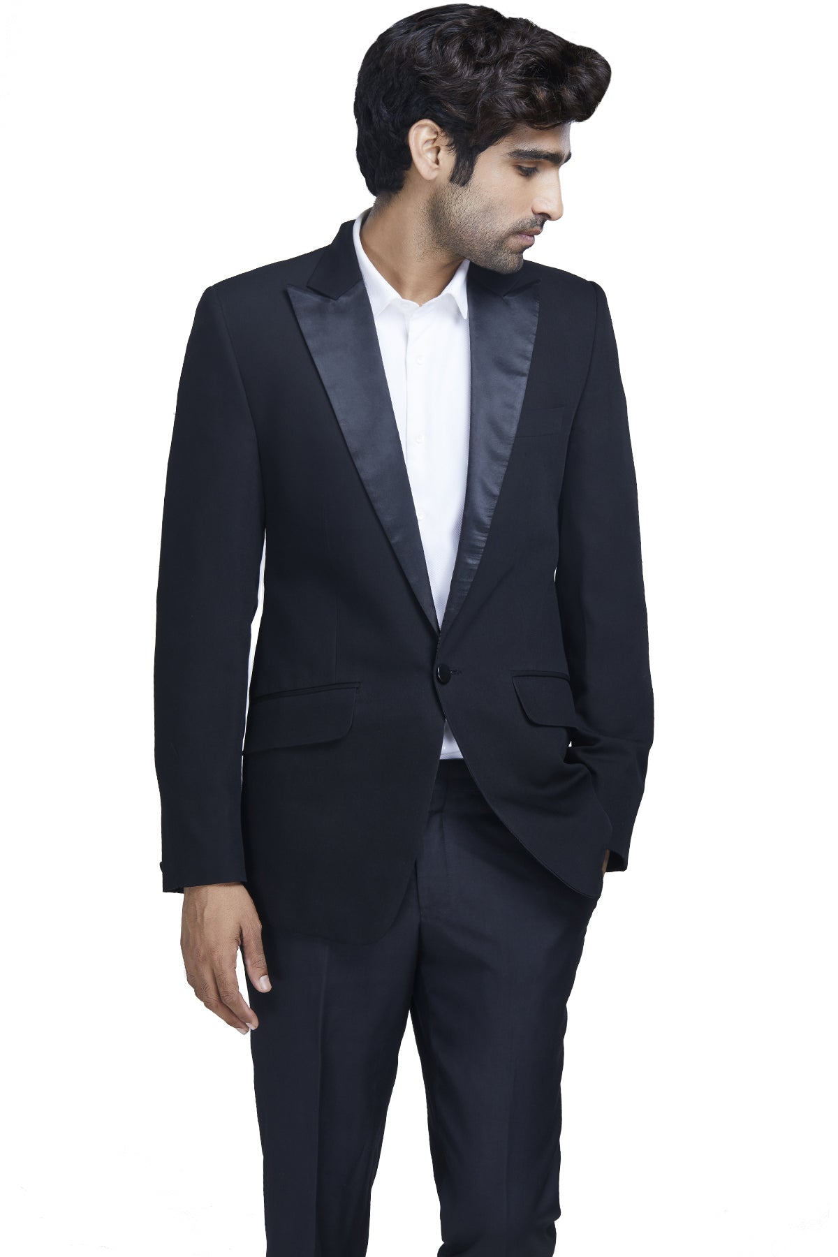 Black suit with pointed lapels
