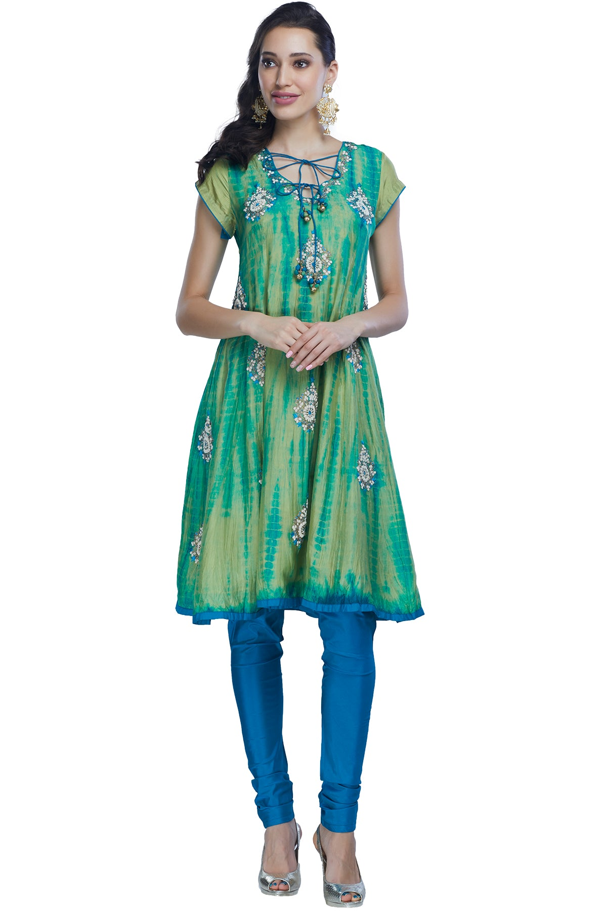 Blue green tie dye kurta set