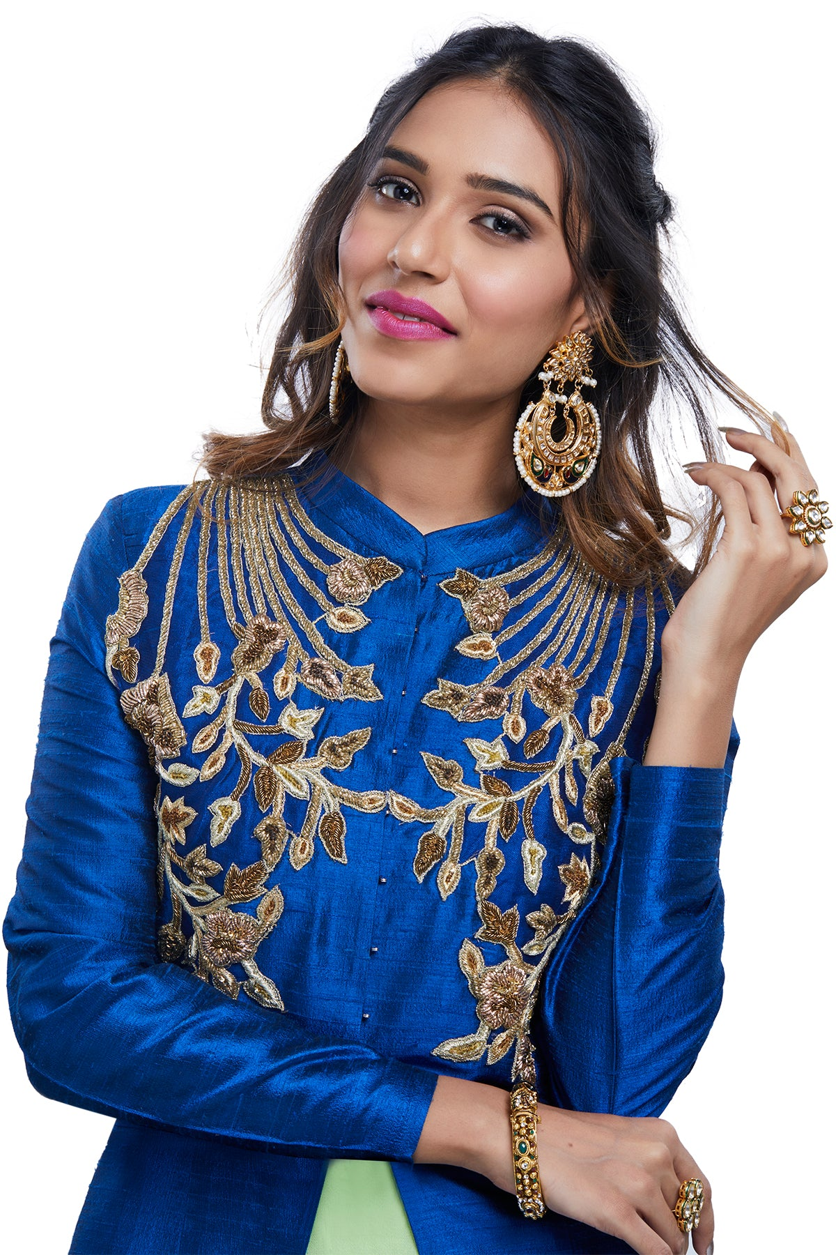 Blue Jacket on Green Anarkali Gown