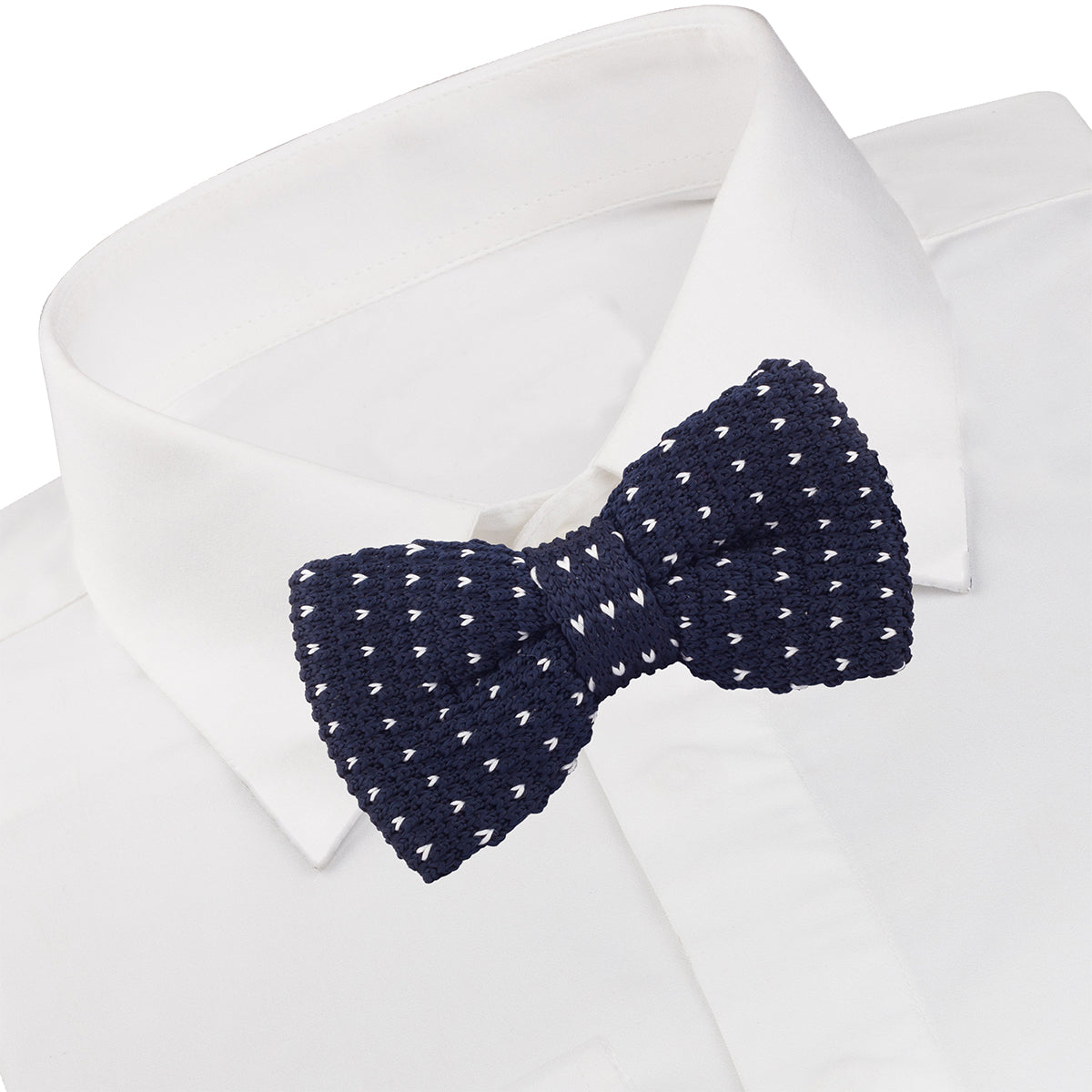 Dotted Navy Blue Bow Tie