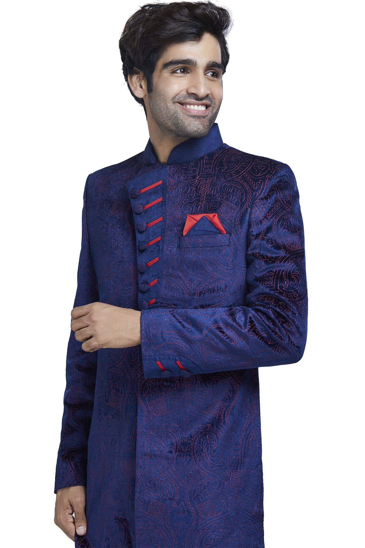 Electric blue and red sherwani set