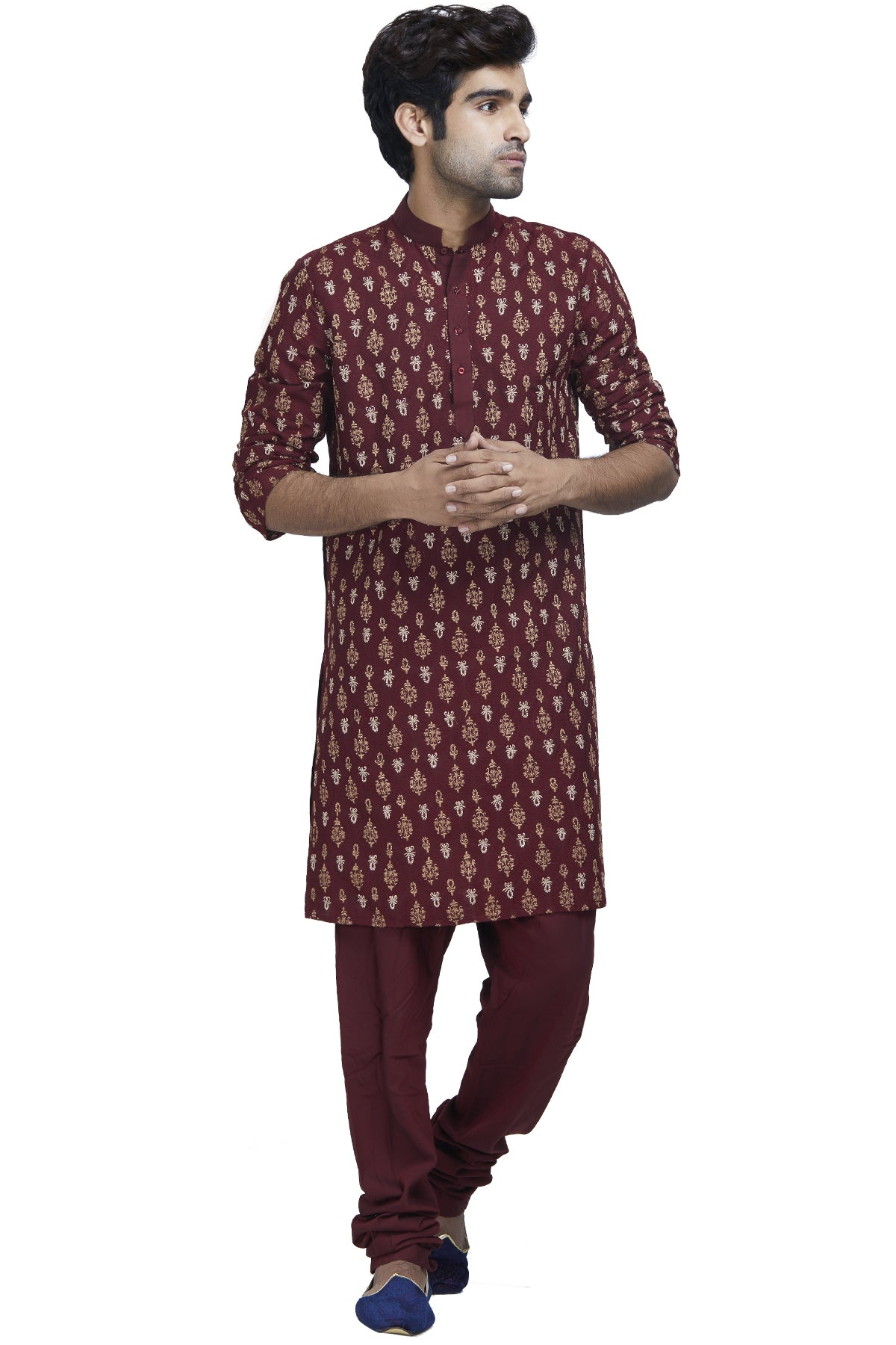 Maroon And Gold Kurta Set