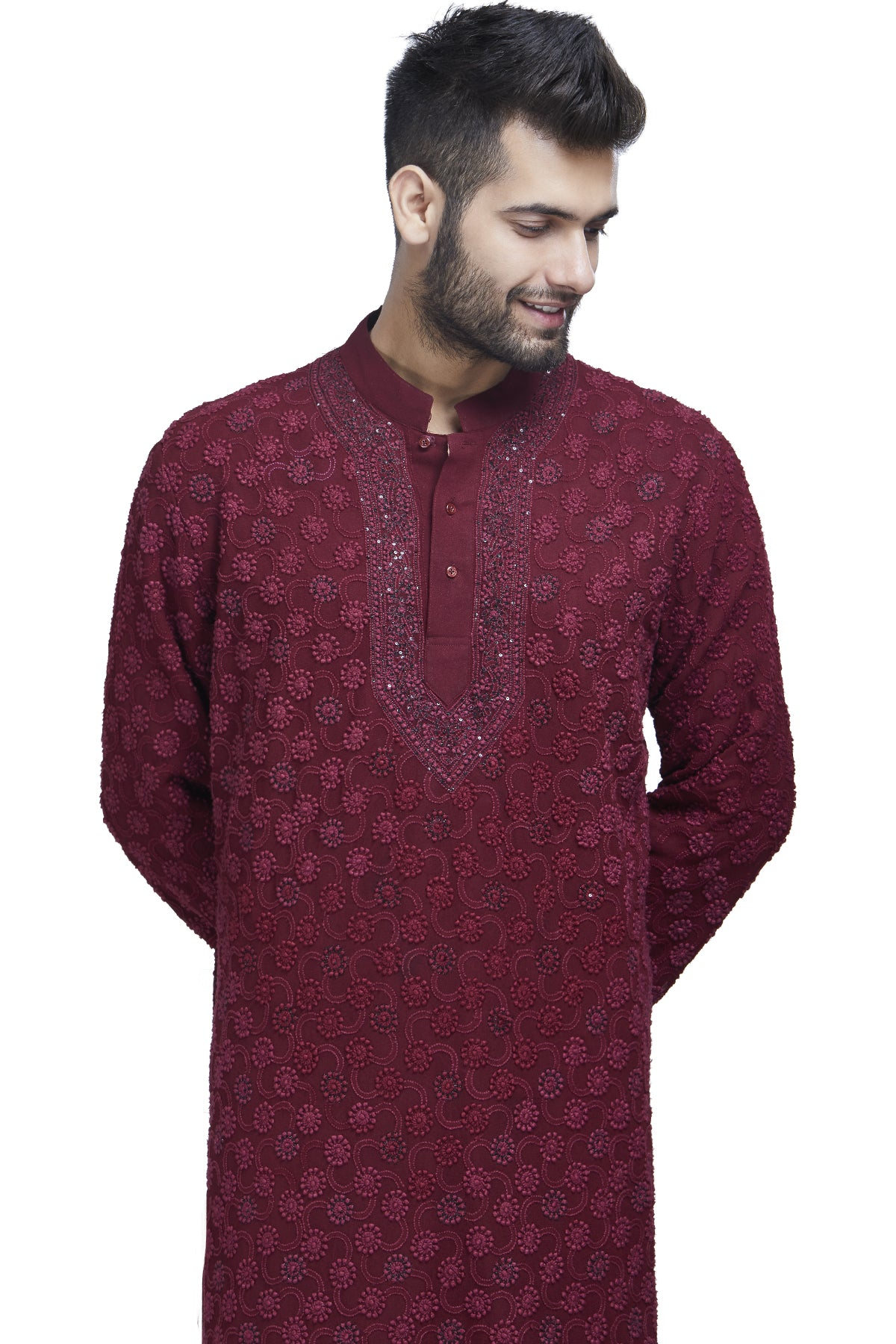 Embroidered maroon kurta set